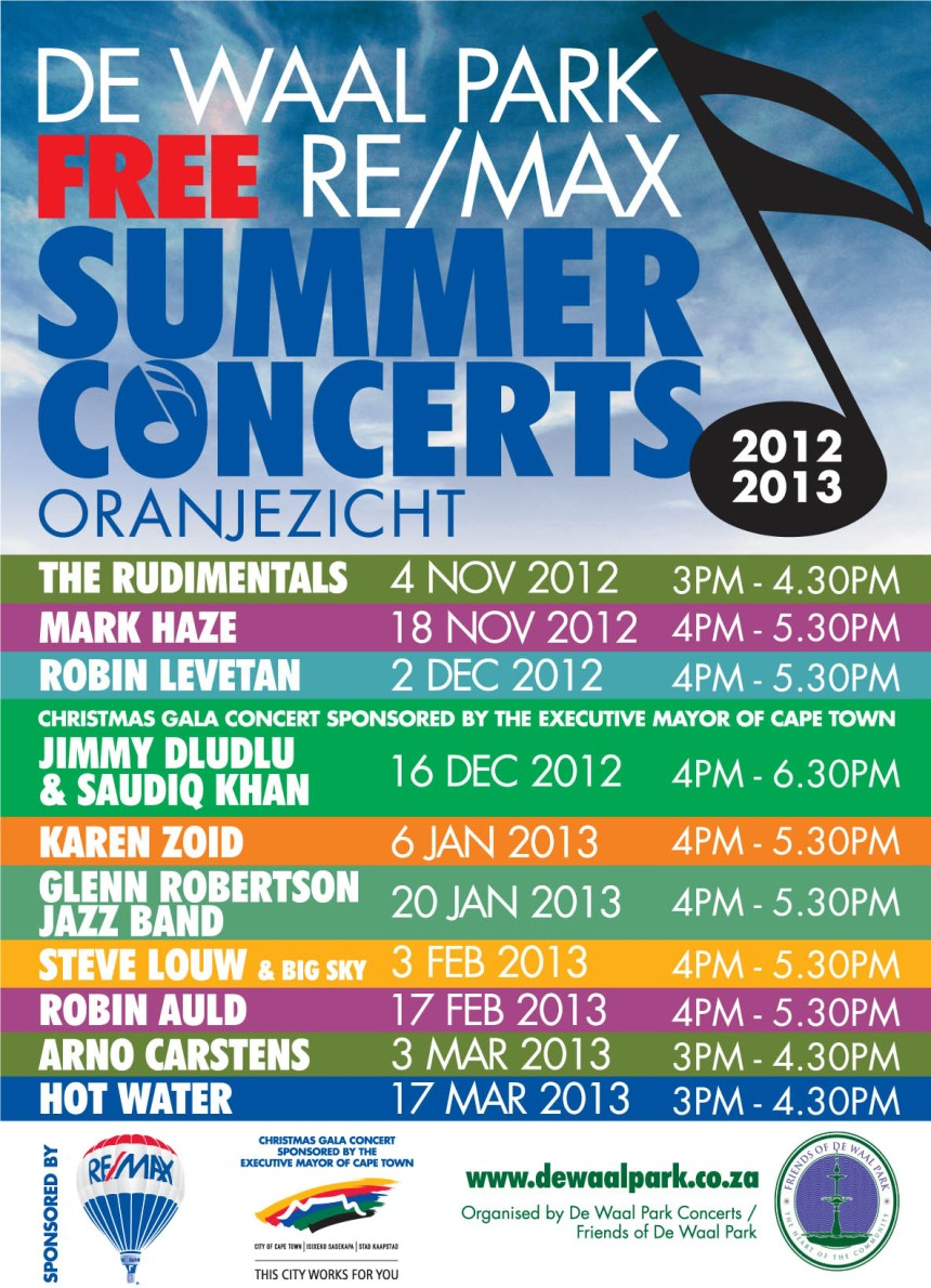 Triple M Entertainment contracted to secure Band Line up / Press and PR for De Waal Park Summer concert series
