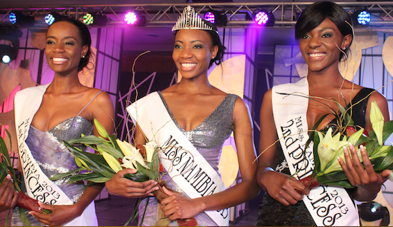 Paulina Malulu (centre), who was crowned Miss Namibia 2013 at a glittering ceremony in Windhoek    On the left is the First Princess, Mbari Katanga, and on the right, the Second Princess, D'Alice Tshilemba.