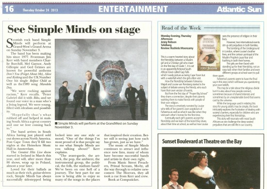 SIMPLE MINDS 24 OCT 1/4 PAGE ATLANTIC SUN
