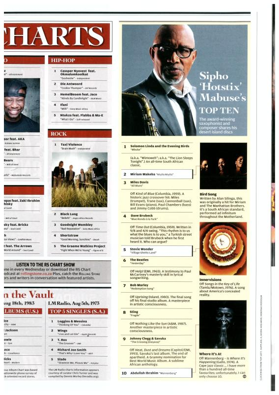 Sipho Mabuse Top 10 for Rolling Stone South Africa - Aug 2013