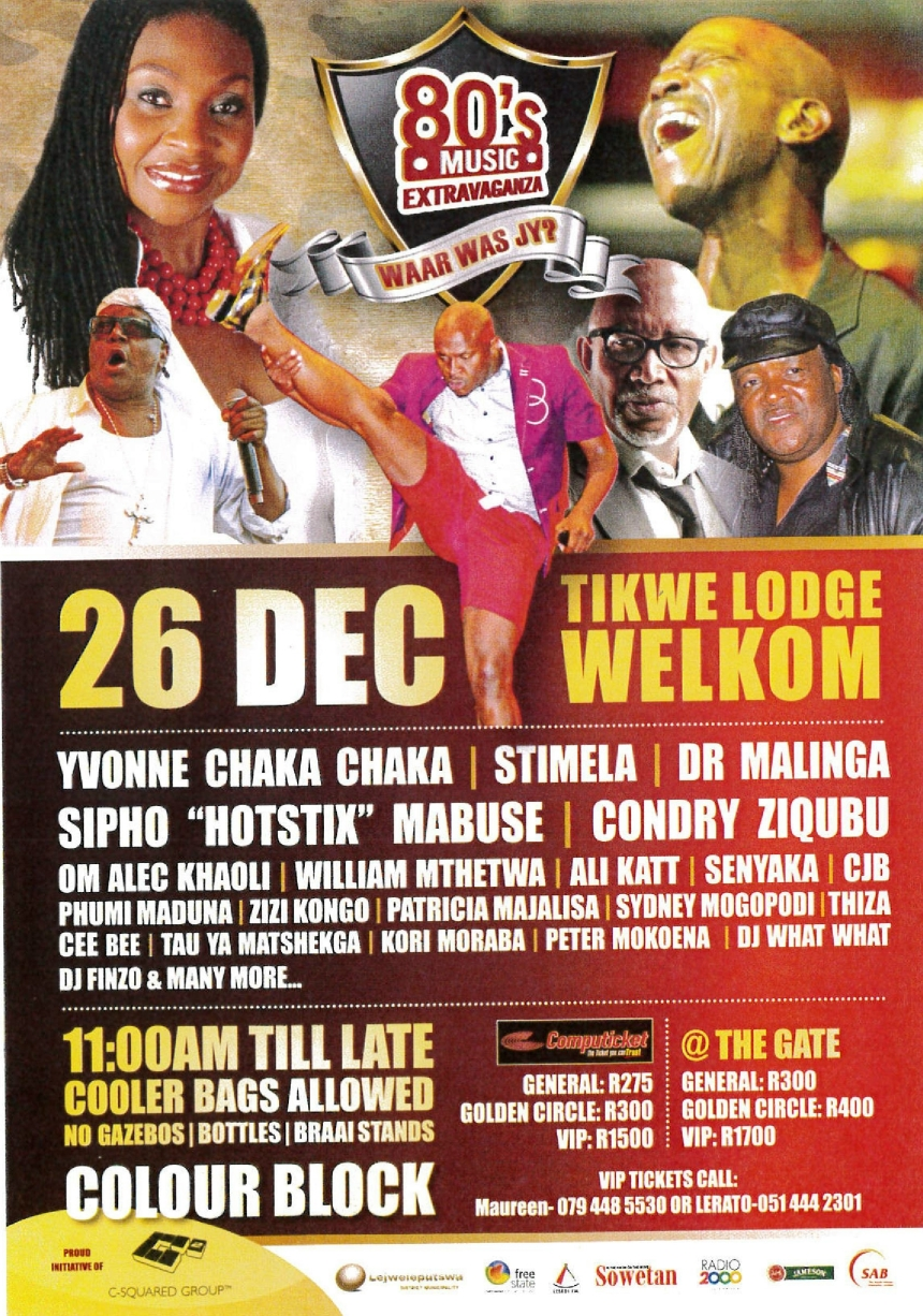 Sipho Mabuse coming to Welkom 26th Dec for festival