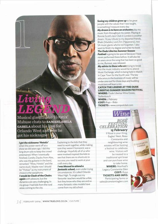 Sipho Mabuse interview - True Love Magazine - Feb 2014