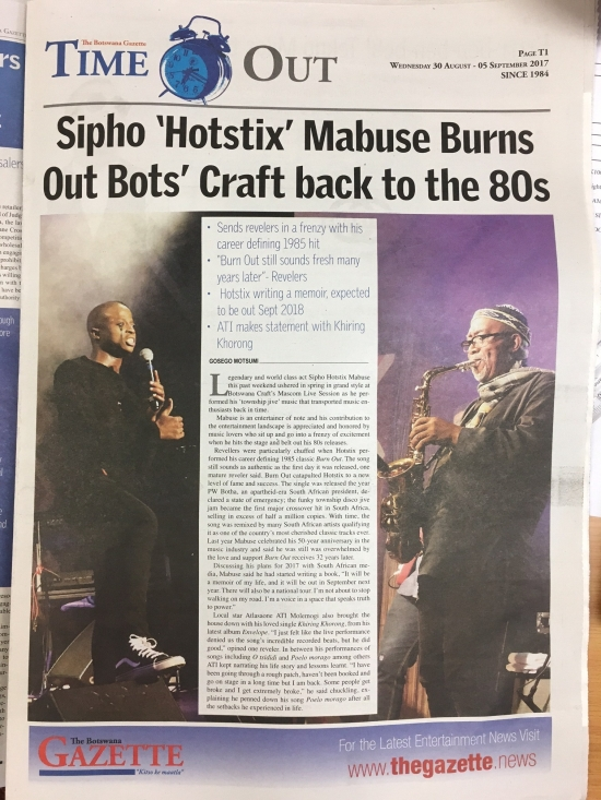 "Sipho ""Hotstix"" Mabuse Burns Out Bots' Craft back to the 80s"